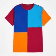 Men Colorblock Short Sleeve Top