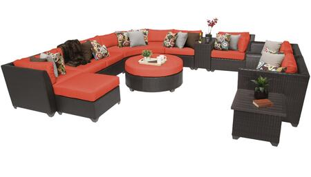 Barbados BARBADOS-12a-TANGERINE 12-Piece Wicker Patio Set 12a with 2 Corner Chairs  3 Armless Chairs  Curved Armless Sofa  Ottoman  End Table  Cup