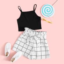 Maedchen Strick Cami Top & Shorts Set mit Papiertasche Taille und Gitter