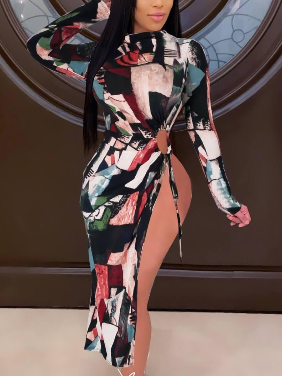 LW Lovely Stylish Print Side High Slit Black Mid Calf Dress