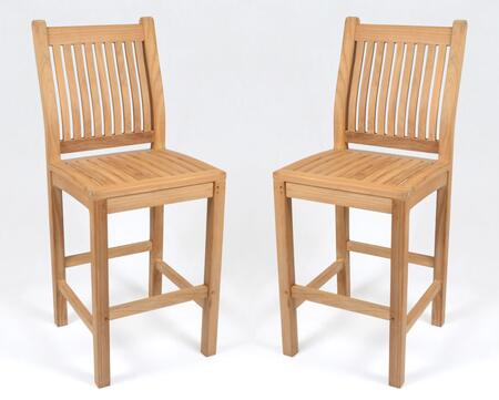 Jakarta Collection TK-BAR2PC-CHAIR Teak Bar Chair with Grade A Teak Hardwood  Stretchers and Slatted Back & Seat - Set of