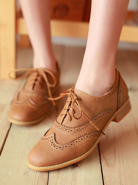 Milanoo Brown Oxfords Classic Round Toe PU Leather Lace Up Casual Shoes