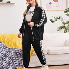 Plus Buffalo Plaid Side Zip Up Sweatshirt and Joggers Set