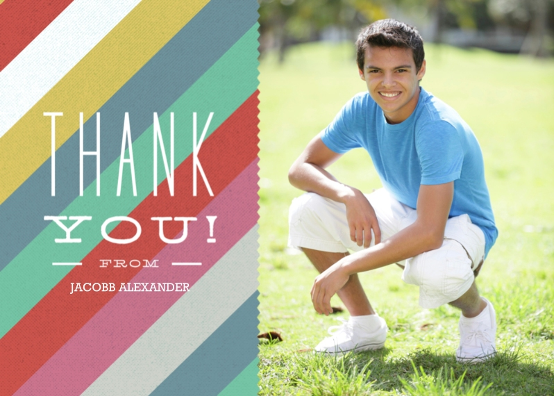 Thank You Cards Mail-for-Me Premium 5x7 Folded Card , Card & Stationery -Thank You Silk Stripes