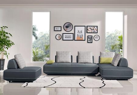 BLACKBERRYSECTIONAL-CH 3-Piece Living Room Set with Sectional Sofa and Chair in