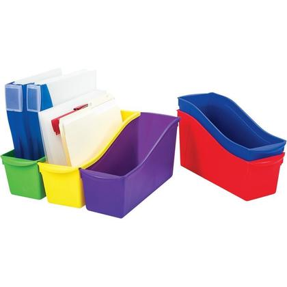 Storex Large Book Bin, 14.3 x 5.3 x 7 Inches, Assorted Colors - 1 Units/Pack