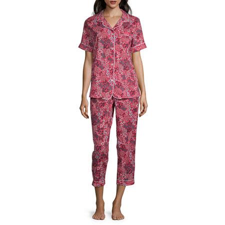 Liz Claiborne Womens 2-pc. Capri Pajama Set Short Sleeve, X-large , Multiple Colors