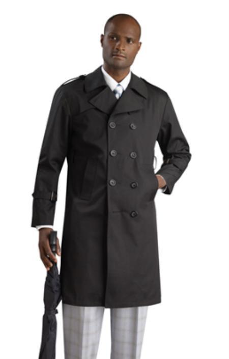 Mens Stylish Black Rain double breasted Coat/ Trench Coat