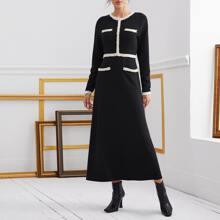 Contrast Tweed Trim Pearls Beaded A-line Dress