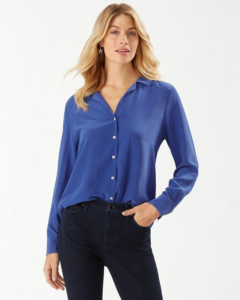 Tove Silk Pajama-Collar Silk Shirt