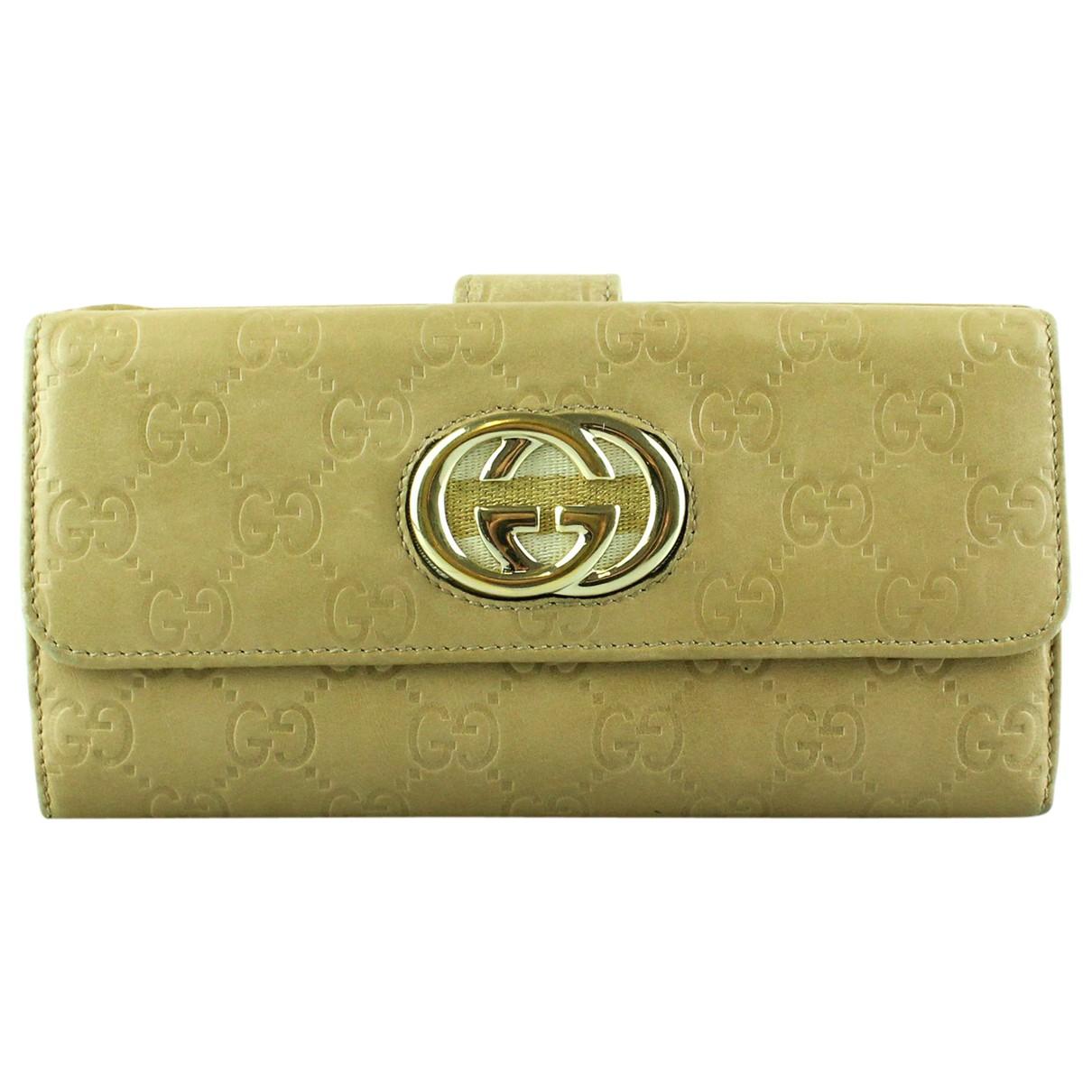 Gucci - Portefeuille   pour femme en cuir - beige
