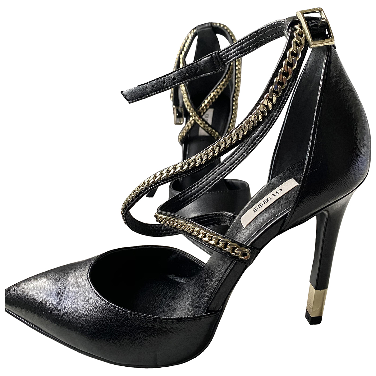 Guess N Black Leather Heels for Women 38 IT