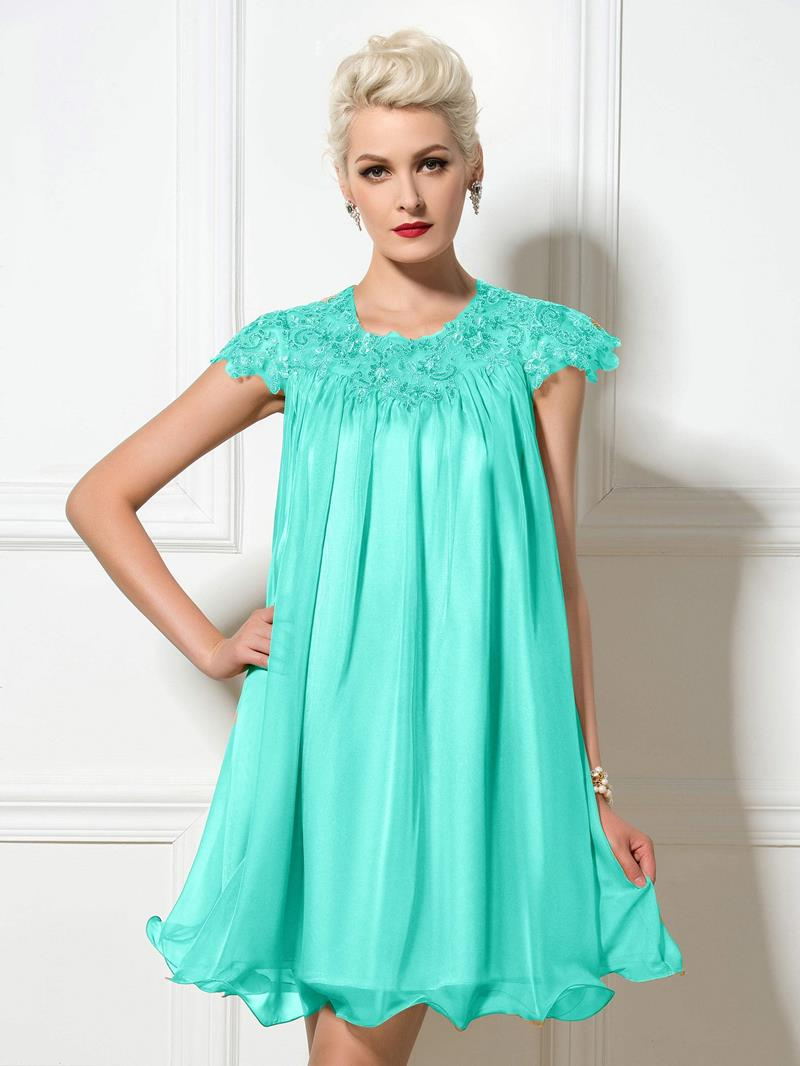 Ericdress Short Sleeve Appliques Sequins Short Cocktail Dress
