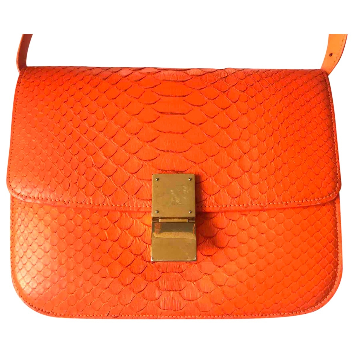 Celine Clasp box Handtasche in  Orange Python