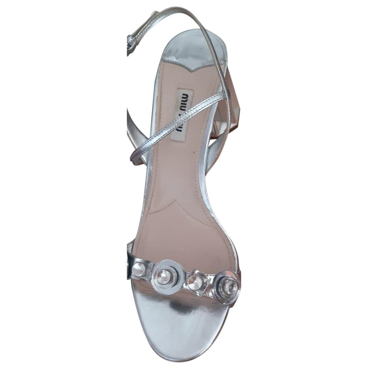 Miu Miu \N Sandalen in  Silber Leder