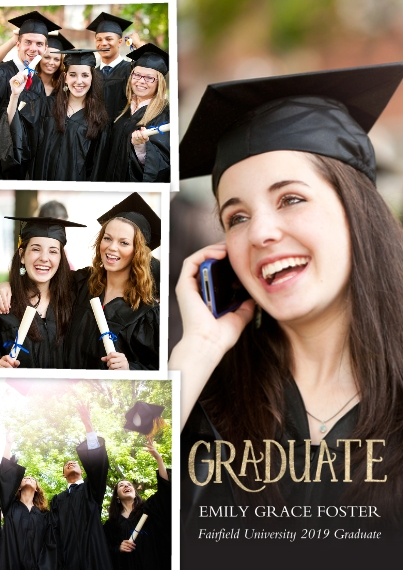 Graduation Announcements 5x7 Cards, Premium Cardstock 120lb with Scalloped Corners, Card & Stationery -Graduate Collage