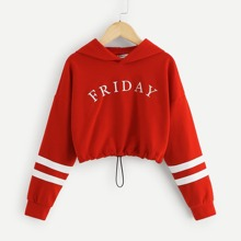 Girls Varsity Striped Letter Graphic Crop Hoodie