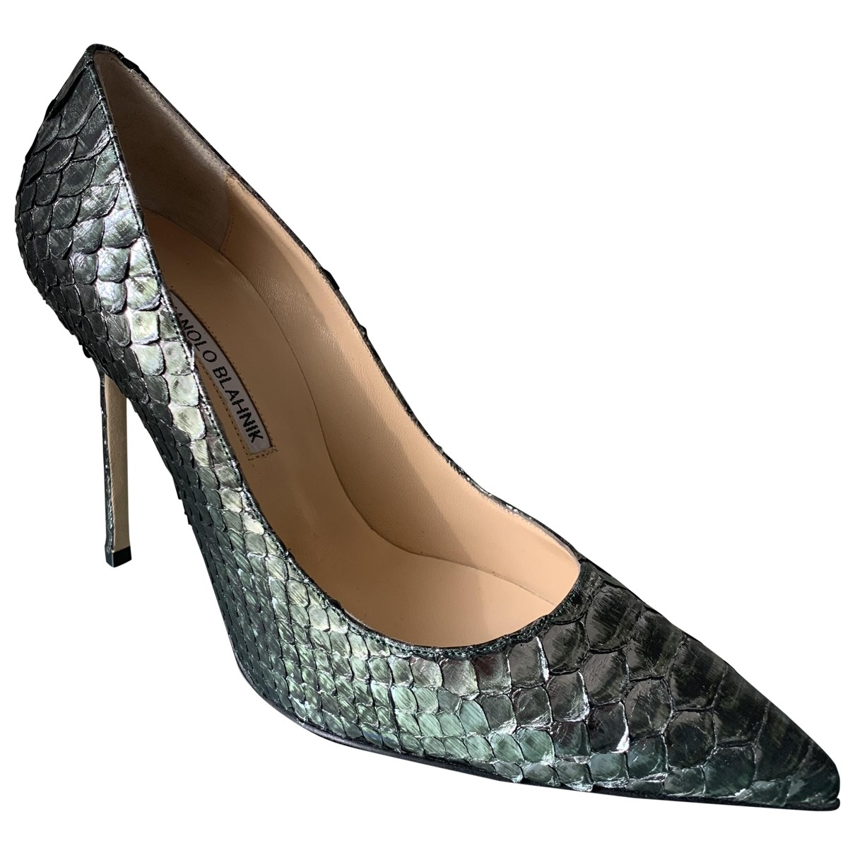Manolo Blahnik \N Green Python Heels for Women 39 EU
