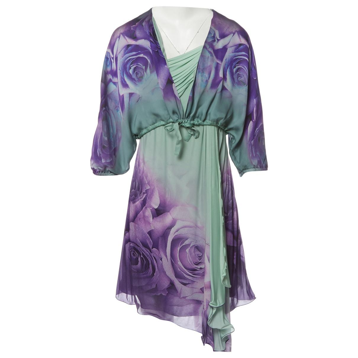 Roberto Cavalli \N Kleid in  Gruen / Lila Synthetik