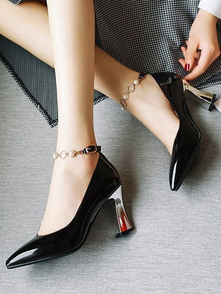 Milanoo Zapatos de tacon medio bajo para mujer Punta puntiaguda blanca Correa de tacon grueso Detalles metalicos ajustables Bombas