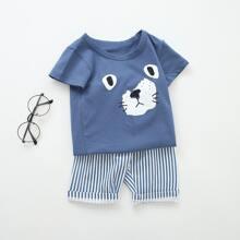 Toddler Boys Cartoon Graphic Tee & Striped Shorts