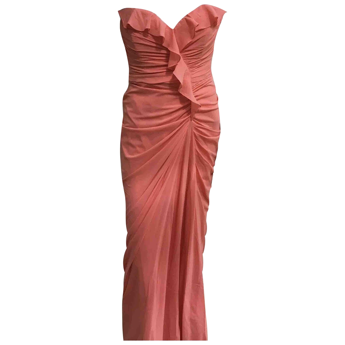 Badgley Mischka \N Kleid in  Orange Baumwolle - Elasthan