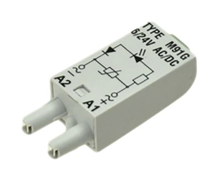 Relpol PLG-IN GRN LED/VARISTOR 6-24V AC/DC GREY