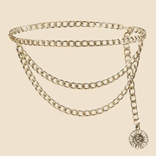 Floral Charm Layered Chain Belt