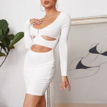 O-ring Zip Half Placket Cutout Front Bodycon Dress