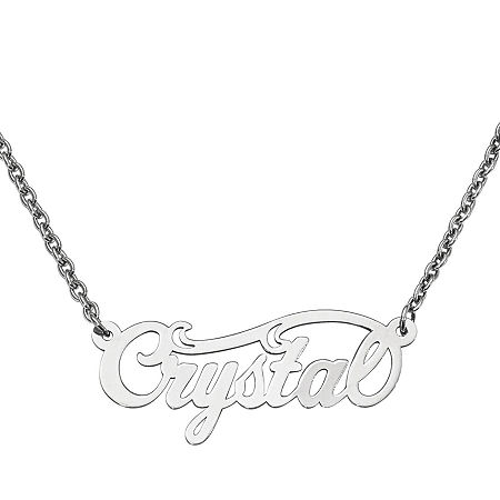 Personalized 14x37mm Swirl Name Necklace, One Size , White