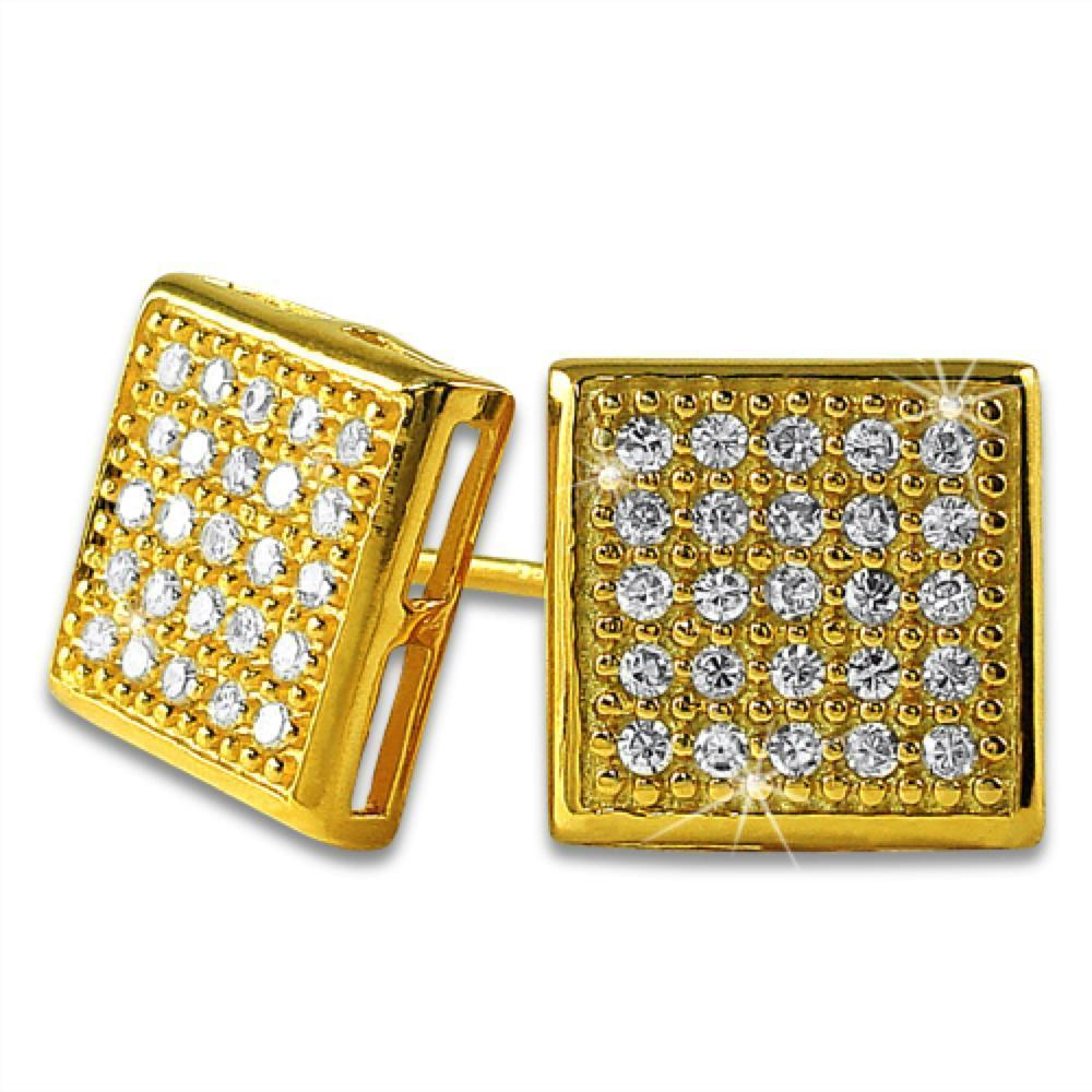 .925 Sterling Silver Box CZ Earrings | 5 Colors | 6 Sizes
