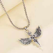 Guys Angel Charm Necklace