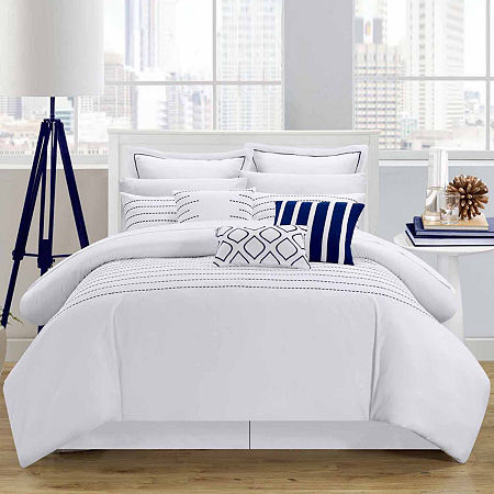 Chic Home Brenton Stripes Complete Bedding Set with Sheets, One Size , White