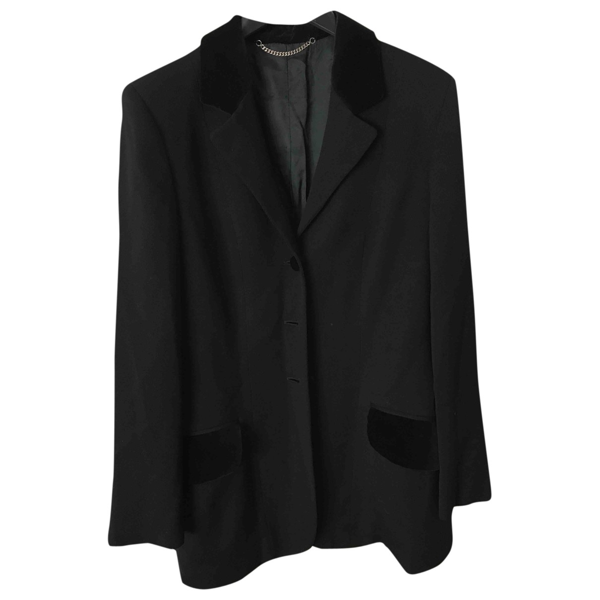 Non Signé / Unsigned Epaulettes Black Wool jacket for Women 44 IT