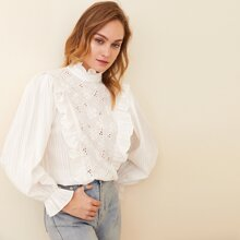 Eyelet Embroidered Panel Ruffle Trim Top