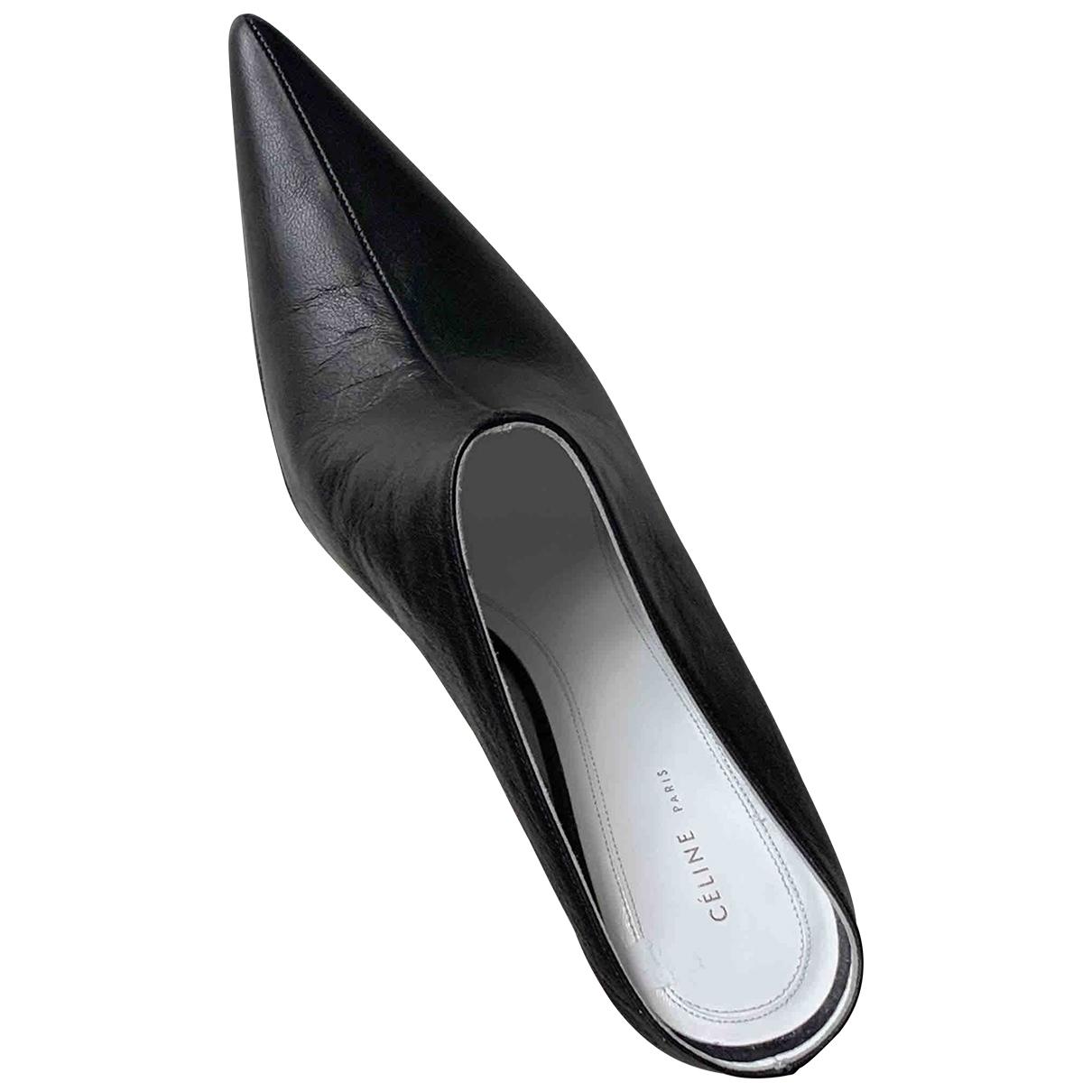 Celine - Sandales   pour femme en cuir - noir