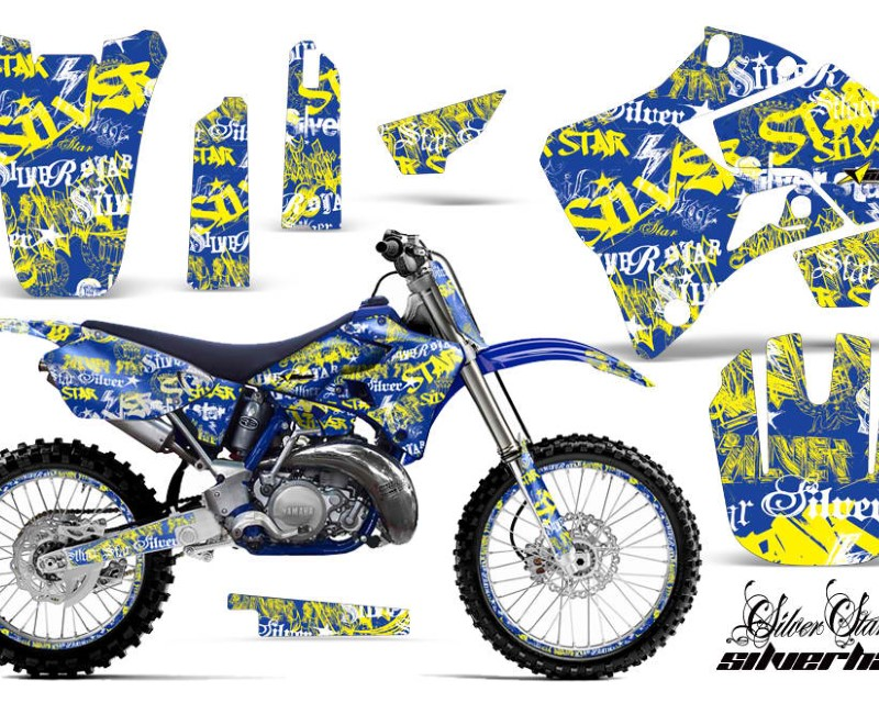 AMR Racing Graphics MX-NP-YAM-YZ125-YZ250-96-01-SSSH Y U Kit Decal Sticker Wrap + # Plates For Yamaha YZ125 YZ250 1996-2001áSSSH YELLOW BLUE