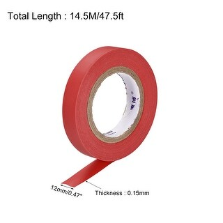 Insulating Tape 12mm x 14.5M x 0.15mm PVC Electrical Tape Red 2pcs (Red)