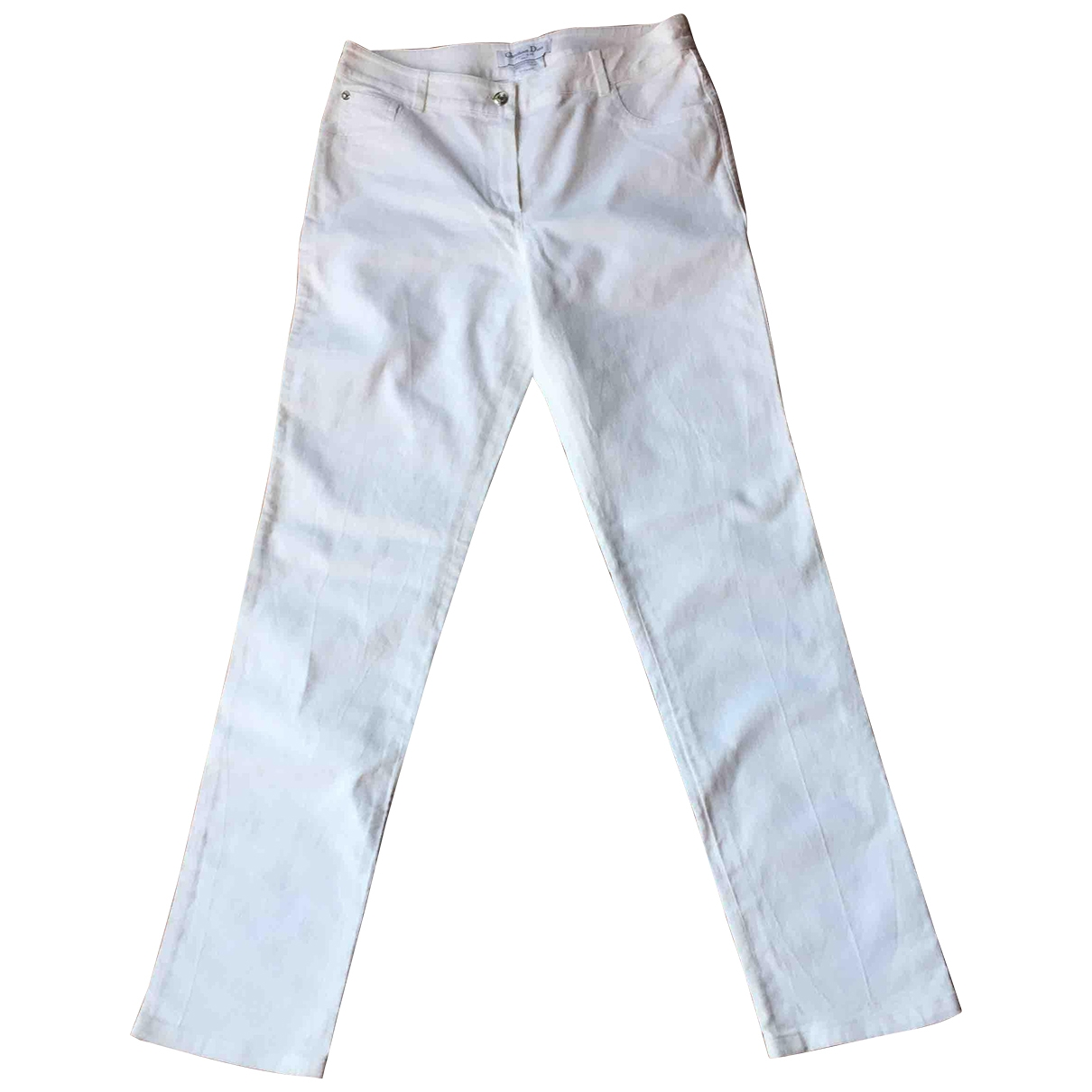 Dior \N White Cotton Trousers for Women 44 IT