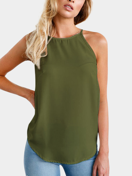 Yoins Army Green Classic Crew Neck Camis