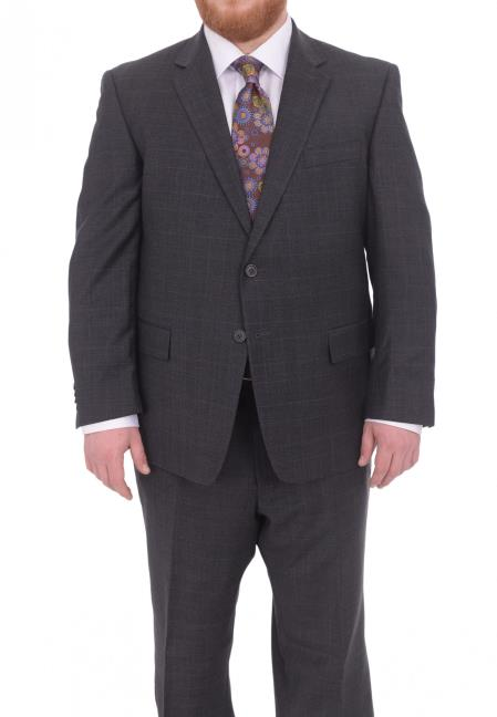 Mens 2 Button Lined Portly FitGray Plaid With Blue Overcheck Wool Suit