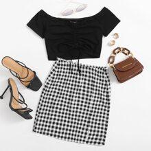 Drawstring Ruched Front Bardot Top & Buffalo Plaid Skirt Set