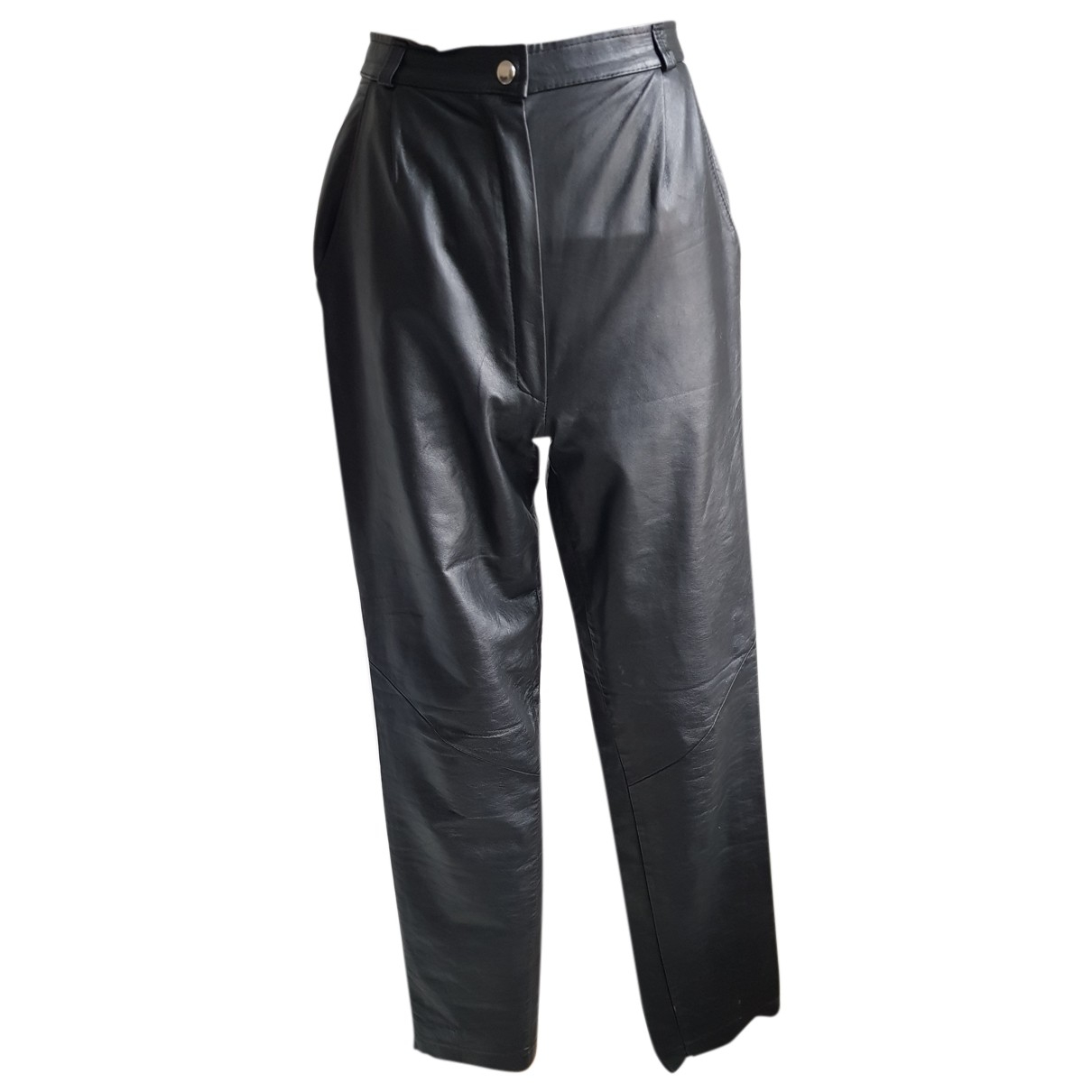 Non Signé / Unsigned N Black Leather Trousers for Women 36 FR