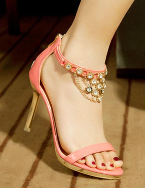 Milanoo Elegant Ecru White PU Leather Rhinestone Chain Stiletto Heel Bride's Sadals