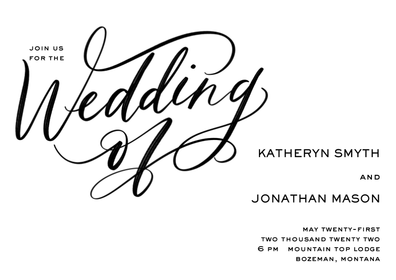 Wedding Invitations 5x7 Cards, Premium Cardstock 120lb, Card & Stationery -Scripted