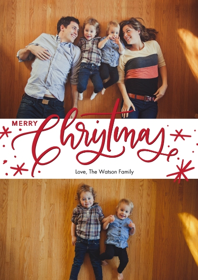 Christmas Photo Cards 5x7 Cards, Premium Cardstock 120lb with Rounded Corners, Card & Stationery -Christmas Red Script by Tumbalina
