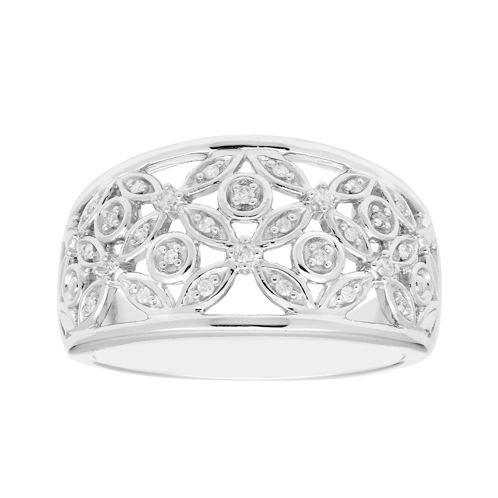 Sterling Silver 1/10cttw Diamond Floral Ring, I3 (6)