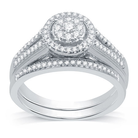 I Said Yes Womens 3/8 CT. T.W. Lab Grown White Diamond Sterling Silver Round Bridal Set, 7 , No Color Family