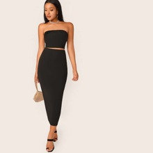 Solid Cropped Tube Top & Pencil Midi Skirt Set
