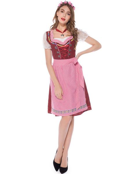 Milanoo Beer Girl Costume Burgundy Plaid Lace Up Apron Polyester Oktoberfest Holidays Costumes Oktoberfest Costumes